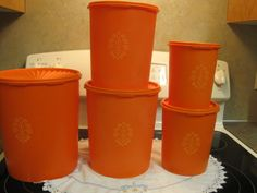 Ten Piece Tupperware Canister Set ( Tangerine by NowandthenTreasures on Etsy Tupperware Canisters, Camper Storage, Home Gadgets, Canister Sets, Household, Orange, Retro, Tableware, Dinnerware
