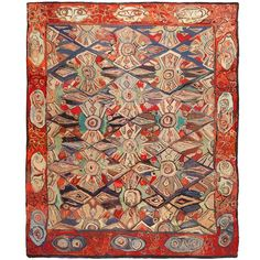 Breathtaking Antique Hooked Rug | From a unique collection of antique and modern north and south american rugs at https://www.1stdibs.com/furniture/rugs-carpets/north-and-south-american/