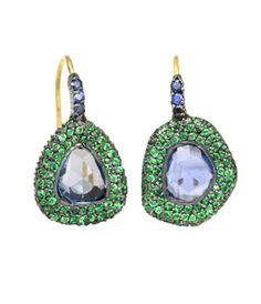 Yossi Harari - Topkapi sapphire and tsavorite earrings, oxidized gilver, 24k gold