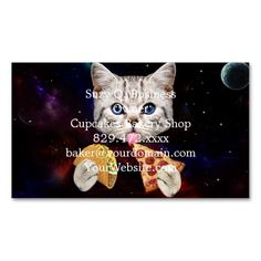 Space Cat with taco and pizza Business Card