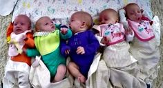 The five baby girl Busby Quintuplets, born April 8, 2015.