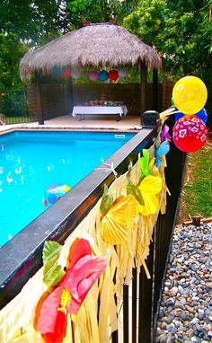Hawaiian Themed Pool Party with matching Dessert Buffet,  www.sassykidsparties.com.au