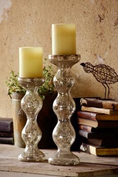 mecury glass candle holders.. like these thick statement candle holders for a mantel at Christmas
