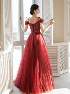 elegant A-line burgundy tulle long prom dress with spaghetti straps an – classygown