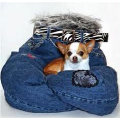 A bed for your dog made from recycled old jeans
