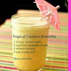 Did you know coconut water has 4 times the potassium as a banana? We buy it to include in smoothies, and also to make oatmeal with. Try this tropical smoothie if you just need a bit of Hawaii today. Thanks for sharing Super Healthy Kids Coconut Water Smoothie, Juice Smoothie, Smoothie Drinks, Detox Drinks, Healthy Smoothies, Healthy Drinks, Tropical Smoothie Recipes, Healthy Food, Jamba Juice