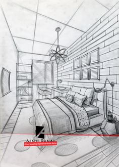 Perspective Drawing Lessons, Perspective Sketch, One Point Perspective, Interior Architecture Drawing, Interior Design Sketches, 3d Home, Beautiful Drawings, Beautiful Pictures, Drawing Techniques