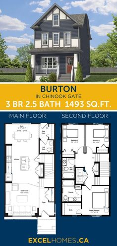 3 bedroom 2.5 bathroom 1493 SQ.FT home floorplan! View more of this house:  Burton in Chinook Gate | Home design by Excel Homes #homedesign #home #house #homebuilder #floorplans #floorplan #houseplans #dreamhome #3bedroom #largehome
