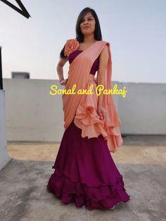 Ready To Wear Peach & Wine Ruffle Saree - – Sonal & Pankaj