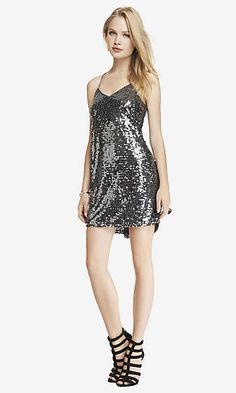 GUNMETAL SILVER SEQUIN CAMI DRESS