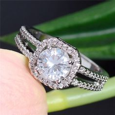 925 Silver 2ct Halo Band Wedding Ring Engagement
