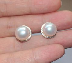 White genuine freshwater real pearl earring studCubic Zirconia Diamond Stud Sterling Silver pearl stud earringbutton wedding pearl earings by jewelryTang on Etsy Real Pearl Earrings, Pearl Earrings Wedding, Wedding Band Sets, Womens Wedding Bands, Real Pearls, Silver Pearls, Golden Jewelry, Pearl Jewelry, Mother Of The Bride Jewelry