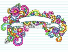 Illustration of Hand-Drawn Psychedelic Banner / Scroll Notebook Doodle Design Element on Lined Sketchbook Paper Background - Illustration vector art, clipart and stock vectors. Doodle Lettering, Hand Lettering, Doodle Art, Notebook Doodles, Cute Banners, Doodle Designs, Illustration, Valentine Day Love, Free Vector Art