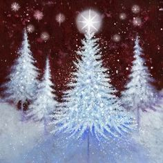 Album 2 « Gallery 18 « Christmas (by category) « Jan Pashley – Illustration / Design Christmas Tree Canvas, Christmas Paintings On Canvas, Christmas Tree Painting, Winter Painting, Noel Christmas, Winter Art, Diy Painting, White Christmas, Christmas Crafts