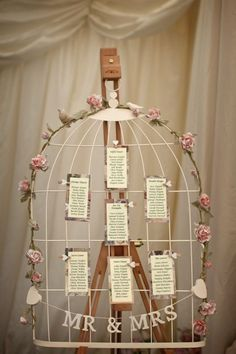 Could pin Bible verses instead of poems. Wedding Table Plan, Birdcage, Shabby Chic / Vintage, With Heart Pegs Wedding Props, Wedding Themes, Chic Wedding, Wedding Table, Wedding Details, Rustic Wedding, Our Wedding, Birdcage Wedding, Wedding Vintage