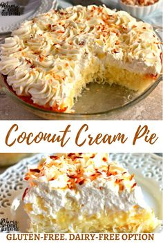 Gluten-Free Coconut Cream Pie {Dairy-Free Option} Sweet and creamy Gluten-Free Coconut Cream Pie. An easy coconut macaroon crust with a vanilla and coconut custard filling topped with fresh whipped cream. The recipe also has a dairy-free option. Dairy Free Pie Recipes, Gluten Free Pie, Cream Pie Recipes, Gluten Free Sweets, Dairy Free Options, Coconut Recipes, Gluten Free Cakes, Whipped Cream Pie Recipe, Gf Recipes