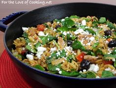 Chicken orzo & spinach skillet