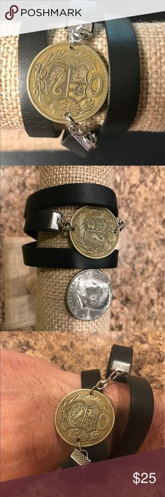 Leather Coin Bracelet Handcrafted 1943 Peru coin coin bracelet, rare, unique gift for anyone! Jewelry Bracelets