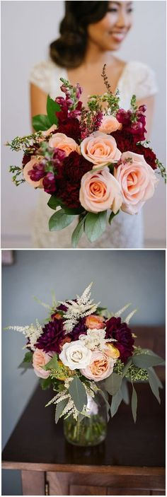 Burgundy Wedding Bouquets for Fall / Winter Wedding #wedding #weddingideas #weddingflowers #fall #flowers #bouquet
