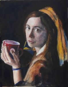 Acrylic after Vermeer's Girl with a Pearl... as a CD cover for Aja... later used for a coffee promotion