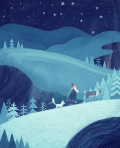 Midnight stroll Framed Art Print by Chuck Groenink Winter Illustration, Christmas Illustration, Children's Book Illustration, Framed Art Prints, Canvas Prints, Winter Art, Art Club, Winter Scenes, Christmas Art