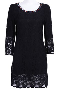 Black Half Sleeve Rhinestone Lace Dress