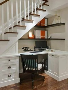 60 Genius Storage Ideas For Under Stairs. Many of us live in houses that have an open area underneath the stairs. Staircase Storage, Stair Storage, Staircase Design, Ikea Storage, Stair Shelves, Hallway Storage, Office Storage, Closet Storage, Office Under Stairs