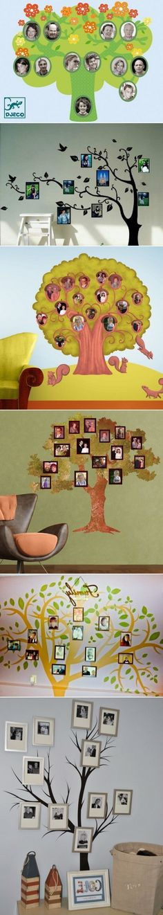 DIY Family Trees With Photos On Your Wall. Would look great going up the stairs! Family Tree Photo, Family Trees, Home Crafts, Diy And Crafts, Crafts For Kids, Diy Interior, Home And Deco, Photo Displays, Family History