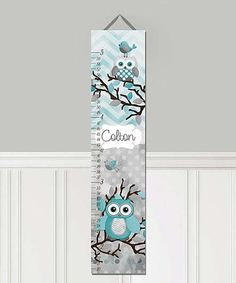 Look what I found on #zulily! Teal Owls Personalized Growth Chart #zulilyfinds Personalised Canvas, Personalized Wall Art, Teal And Grey, Grey Chevron, Baby Bedroom, Kids Bedroom, Bedroom Canvas, Owl Bedrooms, Name In Different Fonts