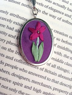 Magenta and purple flower and leaf pendant necklace handmade by BeanTown Embroidery