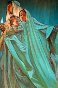 Escape By Night, prophetic art by Rose Datoc Dall. Jesus with Mary and Joseph. What beautiful blue and green glowing colors! Blessed Mother Mary, Blessed Virgin Mary, Lds Art, Bible Art, Catholic Art, Religious Art, Mary And Jesus, Jesus And Mary Pictures, Queen Of Heaven