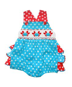 Aiden & Olivia Blue & Red Crab Smocked Ruffle Romper - Infant by Aiden & Olivia #zulily #zulilyfinds