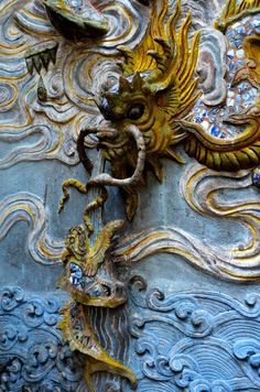 """adamsjackson: """" A dragon relief at Quan Thanh Temple established during the…"""
