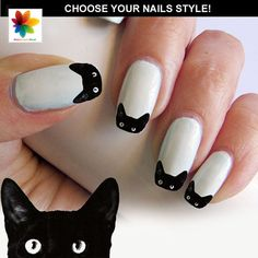 Black cat nail, cat face nail, puppy, 100 Waterslide stickers Decal Nail, clear background, three size on Etsy, $7.74 CAD