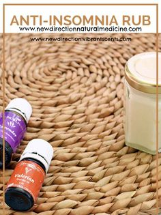 Anti-Insomnia Rub!  *1/4 cup cocoa butter *1/8 cup coconut oil *1/8 cup sweet almond oil *25 drops of Young Living Valerian essential oil *25 drops of Young Living Lavender essential oil  www.facebook.com/NewDirectionNaturalMedicine  www.newdirectionnaturalmedicine.com  www.newdirectionvibrantscents.com