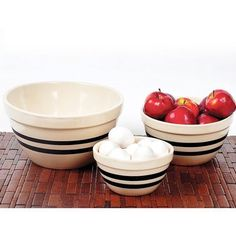 Similar bowls are often seen in antique stores, because that's how long they last. We found an Ohio company still making these durable kitchen bowls. They're the ideal size and weight for mixing, baking and serving almost anything. Baking Supplies, Baking Tools, Cowboy Baked Beans, Wood Stove Cooking, Baking Accessories, Mixing Bowls, Kitchen Equipment, Summer Bbq, Food Storage Containers