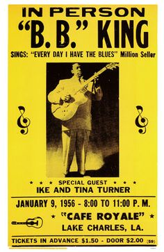 Classic R & B Concert Poster: B.B. King & special guests Ike & Tina Turner