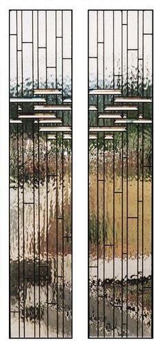 "Bauhaus    Asymmetrical contemporary designed stained clear glass panels with 1"" bevels designed for either side of a door. See also Bauhaus Entrance."