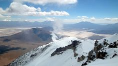 Summit of Ollagüe looking towards Chile an the fumarole. Rise Above, Sea Level, Volcano, Chile, Mount Everest, Fighter Jets, Images, River, Mountains