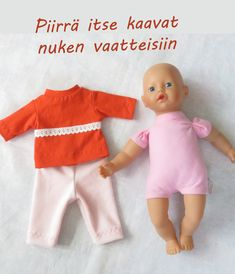 Piirrä itse kaavat nukenvaatteisiin Disney Animator Doll, Doll Clothes, Onesies, Dolls, Sewing, Bebe, Sewing For Kids, Baby Dolls, Dressmaking