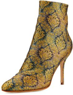 Manolo Blahnik Insopo Brocade Ankle Boot, Gold/Gray/Blue