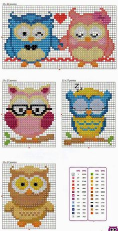 Cute X-stitch owls Cross Stitch Owl, Beaded Cross Stitch, Cross Stitch Animals, Cross Stitch Charts, Cross Stitch Designs, Cross Stitching, Cross Stitch Embroidery, Embroidery Patterns, Cross Stitch Patterns