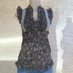 Ruffle Shoulder Sleeveless Tunic With side Zara and tie back under bust. Tops