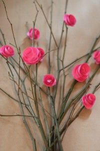 Make paper flowers out of cardstock as a Mothers Day Gift Idea.