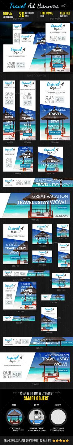 Travel Marketing Web Ad Banners Template PSD | Buy and Download: http://graphicriver.net/item/travel-marketing-web-ad-banners-vol3/9080795?WT.ac=category_thumb&WT.z_author=DoodleGraphix&ref=ksioks