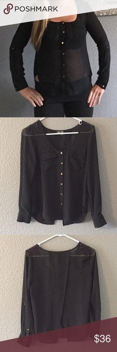 Bebe black blouse Slit open back adorable blouse. bebe Tops Blouses