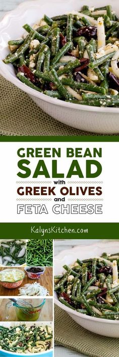 I absolutely LOVE this Green Bean Salad with Greek Olives and Feta Cheese, so I updated the recipe with a dressing that's a bit easier to make. And this favorite summer green bean salad is low-carb, gluten-free, South Beach Diet friendly, and perfect for Meatless Monday! [found on KalynsKitchen.com]