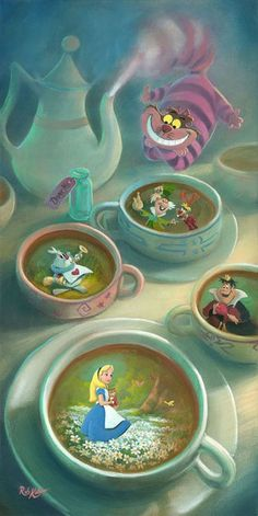 """""""Imagination is Brewing"""" by Rob Kaz. Dedicated to my friend, Hailee, fellow Disney obsessor and Alice in Wonderland fanatic. She is my Alice! Disney Amor, Disney Love, Disney Magic, Disney And Dreamworks, Disney Films, Disney Pixar, Disney Characters, Mickey Mouse, Chesire Cat"""