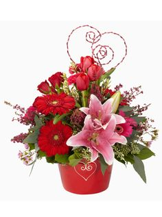 valentines day flower arrangments | ... arrangement. Pink and red is a classic Valentine's Day combination and