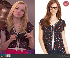 Liv's heart print blouse on Liv and Maddie.  Outfit Details: http://wornontv.net/41219/ #LivandMaddie